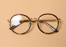 New Tortoise Round Retro Gold Metal Temple Eye-Glasses Clear lens AKA464HOPI