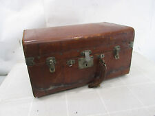 Vintage Leather Covered Small Travel Trunk