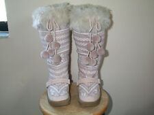 Juicy Couture Women's Pink suede snow winter boots furry snowball accents Size 8