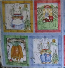 Farming Rabbit Quilting Fabric Panel GROUNDED in LOVE Bunny  J.Wecker Frisch #Bi