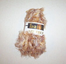 New Lamer Mixed Fiber Browns & Oranges Color Eyelash Yarn Skein