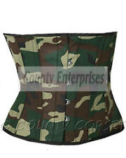 Cincher Shaper Waspie Steel Bone Waistbust Army Military Green Camouflage Corset