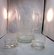 Toscany etched glass bar pitcher, 2 tumblers. Sailing ship design