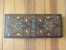 Vintage Syrian Walnut / Lemon Wood Mosaic Mother of Pearl Jewelry Box