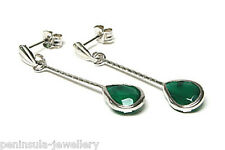9ct White Gold Green Agate Teardrop Earrings Gift Boxed Made in UK