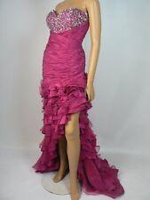 $459 Bella Organza Taffeta Ruched Tiered Asymmetric Sheath Prom Gown 16 NEW B647