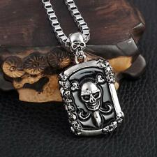 """Hot Sale Cool Men's LF Stainless Steel Skull Pendant Necklace 22"""""""