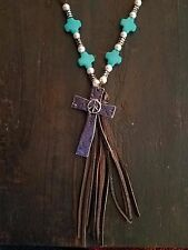Cowgirl Bling PEACE Cross fAUX Turquoise Christian Gypsy necklace