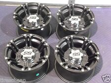 "12"" POLARIS RZR 800 ALUMINUM ATV WHEELS NEW SET 4 LIFETIME WARRANTY SS212 BLK"
