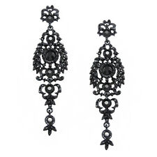 GORGEOUS BLACK AND DARK GREY AUSTRIAN CRYSTAL LONG DANGLE STATEMENT EARRINGS
