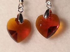 Handmade Brown Faceted Glass Heart Drop Style Hook Earrings - Fashion Jewelry