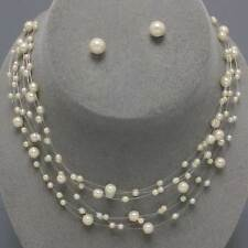 Faux cream pearl necklace set floating illusion wedding prom party bridal 0109