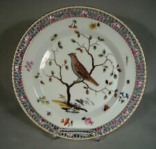 Antique KPM Hand Painted Reticulated Porcelain Plate Bird Flowers Insects