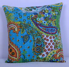 Turquoise Paisley Indian kantha Cushion Pilloe Cover Cotton Throw Ethnic Decor