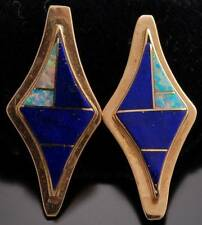 14K Gold Lapis Opal Diamond Earrings by G Nelson - VN40A