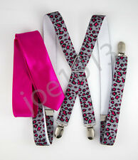 "Mens Hot Pink 2"" Skinny Neck Tie Pink Gray Leopard Print Suspender Set SDNT030"