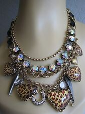 BETSEY JOHNSON LOVELY LEOPARD HEART MULTI CHARM STATEMENT NECKLACE~NWT~RARE