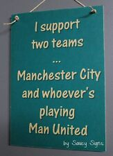 Manchester City v Manchester United EPL English Football Soccer Wooden Wall Sign