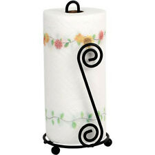 Kitchen Home Decor Spectrum Black Metal Scroll Circle Paper Towel Holder Stand