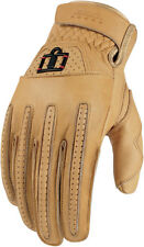 ICON 1000 Rimfire Short Gauntlet Leather Motorcycle Gloves (Tan) M (Medium)
