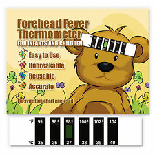 Teddy Bear Baby Forehead Fever Thermometer w/ Cold & Fever Info - CE Marked
