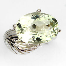 GORGEOUS NATURAL OVAL 16x12mm,TOP RICH GREEN AMETHYST STERLING SILVER RING 7