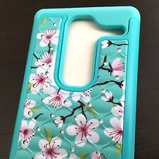 LG Zero H650 / Class F620 -HARD&SOFT HYBRID DIAMOND BLING CASE BLUE PINK FLOWERS