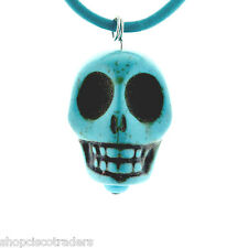 Dyed Howlite Day of Dead Skull ARTISAN Pendant Necklace A43-4 Leather Cord