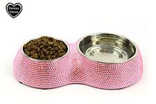 Valentina Valentti Gato Perro Mascota Alimentador Cuenco De Comida Para Mascotas Cristalizado Doble Rosa S