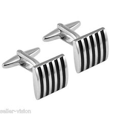 Mens Boys Stainless Steel Business Shirt Silver Enamel Striped Wedding Cufflinks