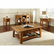 Coffee Cocktail Table Square With Storage Drawers Living Room Accent Oak Color
