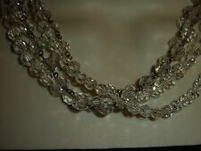 vtg costume NECKLACE 4 strands of clear glass crystal beads