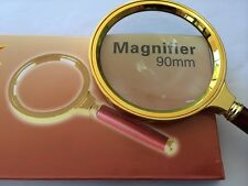 NEW 5x90mm Magnifier Magnifying Glass Lens Hand Held Wood