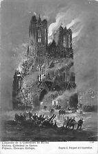 B98003 l incendie de la cathedrale de reims painying postcard france g fraipont