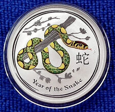 2013 Lunar *SNAKE* Coloured 1 Troy oz (31.135g) 99.9% Pure Silver $1 New/Mint