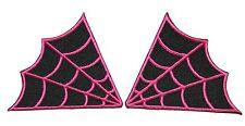 Set of 2 Spider Web Spiderweb Pink Collar Gothic Patch Pink