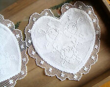 "13"" Vintage Tuscany Lace Heart Shaped Placemat Doily Sachet 100% Cotton WHITE"