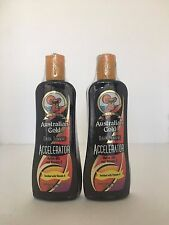 AUSTRALIAN GOLD DARK TAN ACCELERATOR INDOOR TANNING BED LOTION LOT OF 2