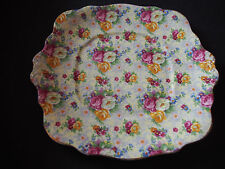 "Antique Royal Albert Chintz Roses Embossed Bone China 9.75"" Square Plate Dish"