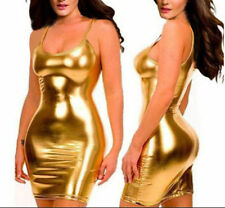 Sexy glisten Metallic PVC FAUX LEATHER Silhouette Night Club Mini Dress Gold