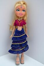 "2001 Bratz Doll 10"" Tall Blonde Hair. Skirt, blouse, high heels, red blue gold"