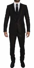NWT $3600 DOLCE & GABBANA Brown Black Shiny 3 Piece Slim Suit Tuxedo EU46/US36/S