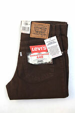 BNWT LEVIS 448 VTG FISHBONE JEANS DARK DENIM BROWN STRAIGHT WHITE TAB W28 L32