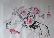 Oridental Hand Paint Chinese traditional water ink painting peony&fish signed