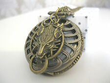 New Wolf Steampunk Antique Bronze Goth Fantasy Pocket Watch Necklace Jewellery