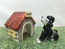 Snootie Poodle Dog & Doghouse Anthropomorphic Salt and Pepper Shakers RARE 50s