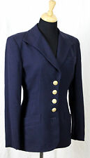 VTG 90s CHRISTIAN DIOR 100% WOOL NAVY BLUE GOLD BUTTONS LINED BLASER JACKET Sz 4