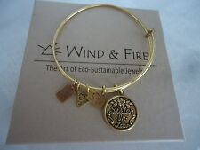 Wind and Fire SISTER IN LAW Charm Bangle Bracelet Gold Finish New W/Box