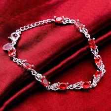 New Women's Fashion Red Crystal Rhinestone 925 Silver Bracelet Jewelry