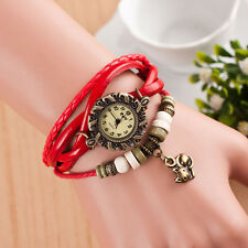 Fashion Women Bracelet Watch Weave Around Leather Cat Analog Quartz Wrist Watch